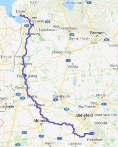 Karte vom Ems-Radwanderweg